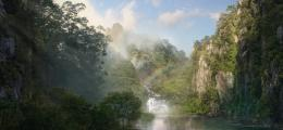 River mountain jungle rainbow nature 1636