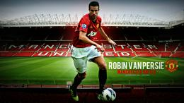 Manchester United Robin van Persie on the background of the football 1787