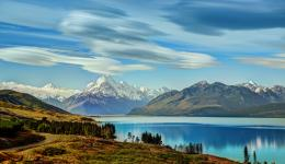 Lake New Zealand Mountains Scenery Pukaki Nature reflection wallpaper 1346