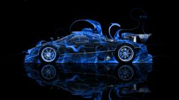 Pagani Zonda R Side Blue Fire Abstract Car 2014 HD Wallpapers design 1546