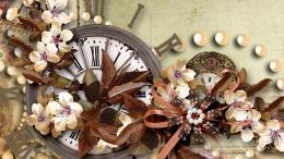 Time for fall bows retro clock vintage HD Wallpaper 1849