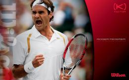 Red Roger Federer wallpaper with a tennis racket in his hand 1138