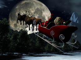 Santa Claus flying to moon 1522