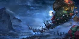 santa claus, reindeer, sleigh, flying, gifts, christmas wallpaper 132
