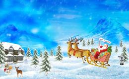 Christmas Santa Claus Reindeer Cartoon 2014 Background HD Wallpaper 411