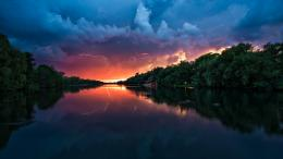 Stormy weather calm river Wallpaper hd background 1799