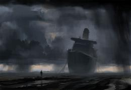 abandoned ship stormy weather human HD Wallpaper of Art & Fantasy 1054