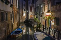Venice night canal city architecture 316