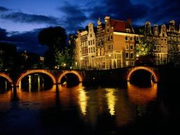 Download wallpaper Amsterdam by Night, Netherlands: 1765