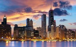 USA Wallpaper, Illinois, Chicago, city, buildings, lights, dusk 466
