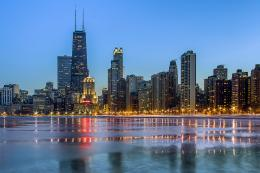 Chicago, city, evening, lights, skyscrapers, ocean, winter wallpapers 1139