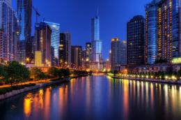 Wallpaper chicago, usa, illinois, chicago, city, night, lights 410