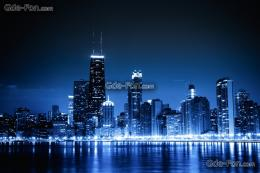 wallpaper Chicago, blue night, city, lights free desktop wallpaper 1261