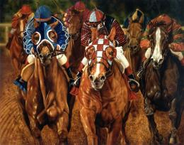 Download Horse Paintings wallpaper, \'brown racing horse\' 656