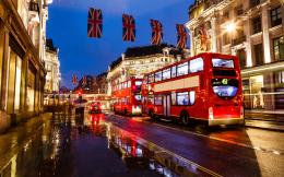 london england bus night street buildings lights wallpaper background 731