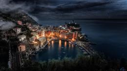 Download Wallpaper Night Manarola, Liguria, Italy1920 x 1080 HDTV 580