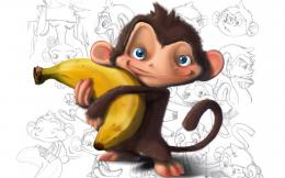 Monkey Holding a Banana HD WallpaperDamnWallpapers 358