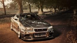 Nissan Skyline GT R R34 Tuning Road Photo HD wallpaper 1933
