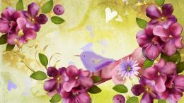 Bird with purple flower collage wallpaper in 3DAbstract wallpapers 1481