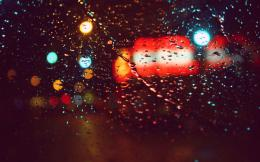 glass wallpaper, rain, drops, lights, glare widescreen 1377