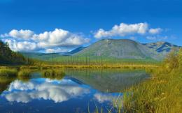 Wallpaper russia, siberia, mountains, lake, reeds, sky, clouds, water 159