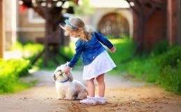 Cute little girl play white dog Wallpapers Pictures Photos Images 621