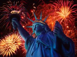 statue of liberty at night fireworks hd wallpapers 1129