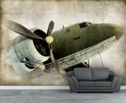 Items similar to Wall mural, Retro propeller airplane wall paper, wall 1604