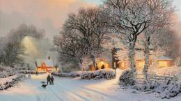 Village In Winter PaintingNature HD Wallpapers 1387