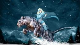 Tiger Snow Winter Girl Art Desktop Wallpaper 1036