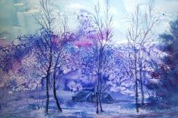 watercolor painting forest winter nature art hd wallpaper jpg 1850