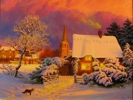 snow cottage trees winter painting sunset hd wallpaper 363
