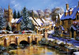 Winter village river bridge painting trees HD Wallpaper 114