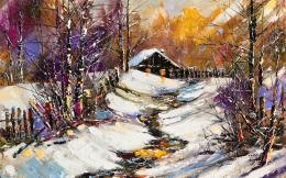winter painting wallpaper tags snow cottage river winter painting 1725