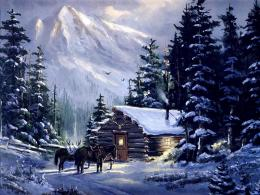 Beautiful winter mountain cottage art snow HD Wallpaper 1364