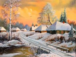 Winter village painting nature beautiful HD Wallpaper 1339