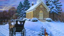 Church in winter painting wallpaper in 3DAbstract wallpapers 903