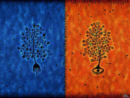 Wallpaper tree, blue, orange, Blue and orange tree 1644