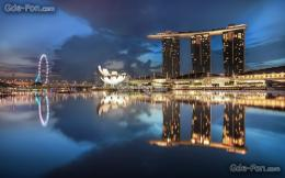 Download wallpaper singapore, gardens by the bay, night, architecture 213