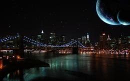 Wallpaper night sky, moon, river, bridge wallpapers citydownload 883