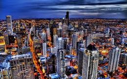City, Sky, Chicago, Illinois, Usa, Night, World 723