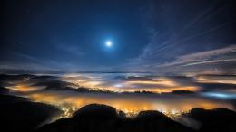 night sky starsmoon hills fog city lights bokeh wallpaper background 729