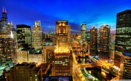 Night city, Lights, Blue sky, Chicago, Skyscraper wallpapers and 1532