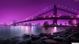 Purple Sky Over a CityHD Tablet Wallpaper 718