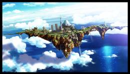 Wallpapers :: ocean, fantasy art, anime, city in the sky, cities, blue 172