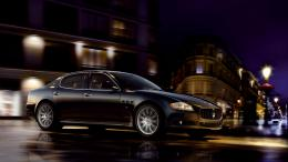 Maserati Wallpaper, Quattroporte, Black, City, Wheels, Ride, Night 1416