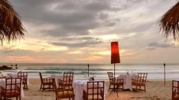 Dining on the beach sea waves tables chairs HD Wallpaper 925