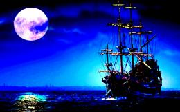 Midnight sailing sea moon fullmoon ship sky 597