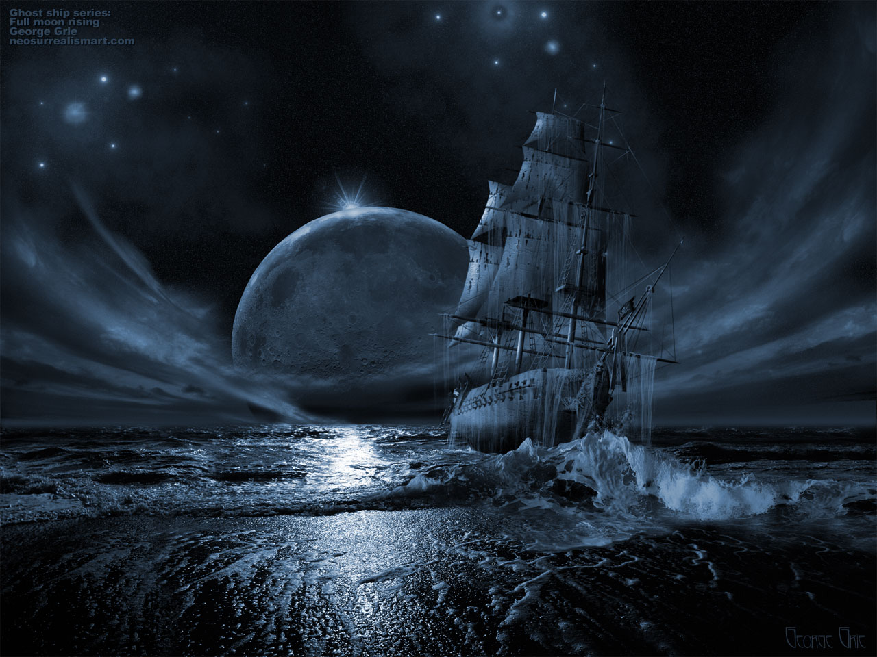 backgrounds by 3D artist George Grie: Ghost ship series: Full moon 1897