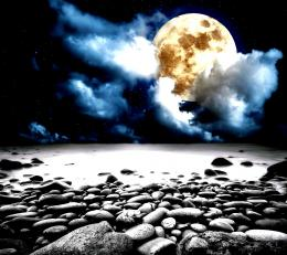 Full moon beach stones sky sea moonlight 1280